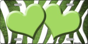 Lime Green White Zebra Hearts Oil Rubbed Wholesale Metal Novelty License Plate