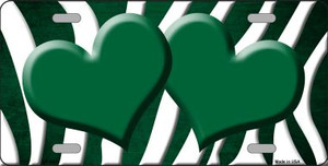 Green White Zebra Hearts Oil Rubbed Wholesale Metal Novelty License Plate