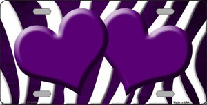 Purple White Zebra Hearts Oil Rubbed Wholesale Metal Novelty License Plate