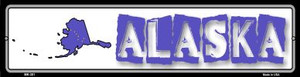 Alaska State Outline Wholesale Novelty Mini Metal Street Sign MK-301