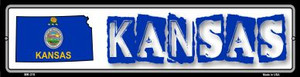 Kansas State Outline Wholesale Novelty Mini Metal Street Sign MK-315