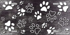 Black White Paw Print Oil Rubbed Wholesale Metal Novelty License Plate