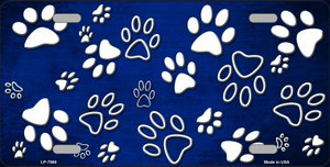 Blue White Paw Print Oil Rubbed Wholesale Metal Novelty License Plate