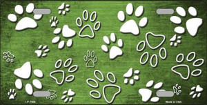 Lime Green White Paw Print Oil Rubbed Wholesale Metal Novelty License Plate