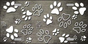 Tan White Paw Print Oil Rubbed Wholesale Metal Novelty License Plate
