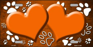 Paw Print Heart Orange White Wholesale Metal Novelty License Plate