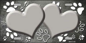 Paw Print Heart Gray White Wholesale Metal Novelty License Plate