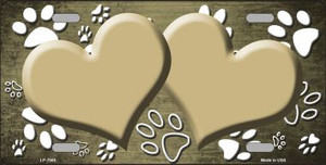 Paw Print Heart Gold White Wholesale Metal Novelty License Plate