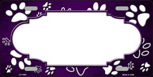 Paw Print Scallop Purple White Wholesale Metal Novelty License Plate