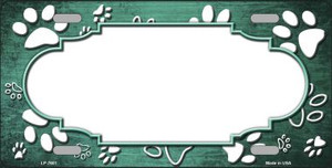 Paw Print Scallop Mint White Wholesale Metal Novelty License Plate