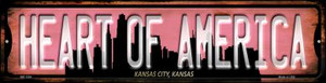 Kansas City Kansas Heart of America Wholesale Novelty Mini Metal Street Sign MK-1254