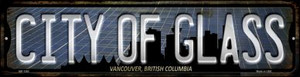 Vancouver British Columbia City of Glass Wholesale Novelty Mini Metal Street Sign MK-1262