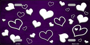 Purple White Love Print Oil Rubbed Wholesale Metal Novelty License Plate