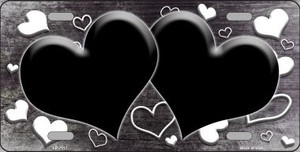 Black White Love Print Hearts Oil Rubbed Wholesale Metal Novelty License Plate