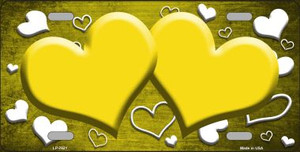 Yellow White Love Print Hearts Oil Rubbed Wholesale Metal Novelty License Plate