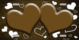 Brown White Love Print Hearts Oil Rubbed Wholesale Metal Novelty License Plate