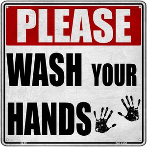 Please Wash Your Hands Wholesale Novelty Metal Square Sign