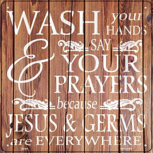 Jesus and Germs Wholesale Novelty Metal Square Sign SQ-902