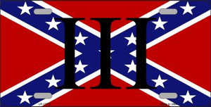 3 Percenter Confederate Wholesale Novelty Metal License Plate Tag LP-13576