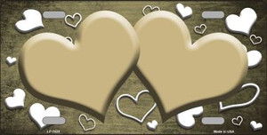 Gold White Love Print Hearts Oil Rubbed Wholesale Metal Novelty License Plate