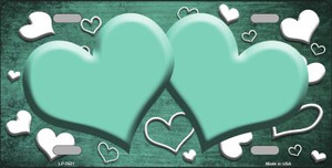 Mint White Love Print Hearts Oil Rubbed Wholesale Metal Novelty License Plate