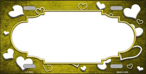 Yellow White Love Print Scallop Oil Rubbed Wholesale Metal Novelty License Plate