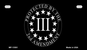 Protected by 2nd Amendment Wholesale Novelty Metal Motorcycle Plate MP-13581