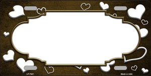 Brown White Love Print Scallop Oil Rubbed Wholesale Metal Novelty License Plate