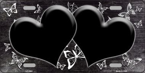 Black White Hearts Butterfly Print Oil Rubbed Wholesale Metal Novelty License Plate
