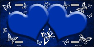 Blue White Hearts Butterfly Print Oil Rubbed Wholesale Metal Novelty License Plate