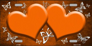 Orange White Hearts Butterfly Print Oil Rubbed Wholesale Metal Novelty License Plate