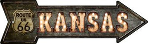 Kansas Route 66 Bulb Letters Wholesale Novelty Mini Metal Arrow MA-428