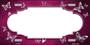 Pink White Scallop Butterfly Print Oil Rubbed Wholesale Metal Novelty License Plate