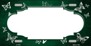 Green White Scallop Butterfly Print Oil Rubbed Wholesale Metal Novelty License Plate