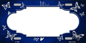 Blue White Scallop Butterfly Print Oil Rubbed Wholesale Metal Novelty License Plate