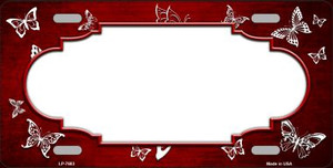 Red White Scallop Butterfly Print Oil Rubbed Wholesale Metal Novelty License Plate