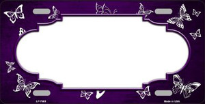 Purple White Scallop Butterfly Print Oil Rubbed Wholesale Metal Novelty License Plate