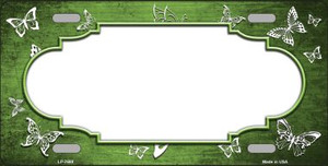 Lime Green White Scallop Butterfly Print Oil Rubbed Wholesale Metal Novelty License Plate