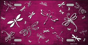 Pink White Dragonfly Print Oil Rubbed Wholesale Metal Novelty License Plate