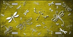 Yellow White Dragonfly Print Oil Rubbed Wholesale Metal Novelty License Plate