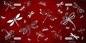 Red White Dragonfly Print Oil Rubbed Wholesale Metal Novelty License Plate