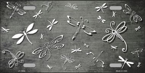 Gray White Dragonfly Print Oil Rubbed Wholesale Metal Novelty License Plate