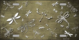 Gold White Dragonfly Print Oil Rubbed Wholesale Metal Novelty License Plate