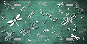 Mint White Dragonfly Print Oil Rubbed Wholesale Metal Novelty License Plate