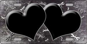 Black White Dragonfly Hearts Print Oil Rubbed Wholesale Metal Novelty License Plate