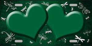Green White Dragonfly Hearts Print Oil Rubbed Wholesale Metal Novelty License Plate