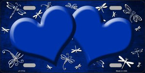 Blue White Dragonfly Hearts Print Oil Rubbed Wholesale Metal Novelty License Plate