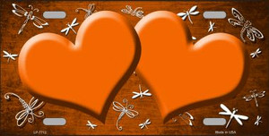 Orange White Dragonfly Hearts Print Oil Rubbed Wholesale Metal Novelty License Plate
