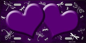Purple White Dragonfly Hearts Print Oil Rubbed Wholesale Metal Novelty License Plate