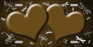 Brown White Dragonfly Hearts Print Oil Rubbed Wholesale Metal Novelty License Plate